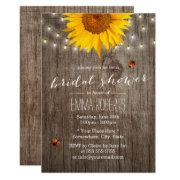 Rustic Sunflower String Lights Wood Bridal Shower