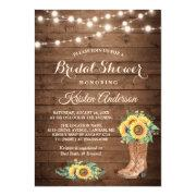 Rustic Sunflowers Boots Cowgirl Bridal Shower Invitations