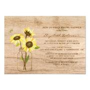 Rustic Sunflowers Bridal Shower Invitation