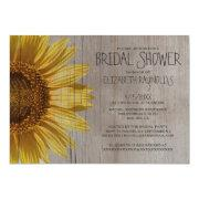 Rustic Sunflowers Bridal Shower Invitations Custom Invite