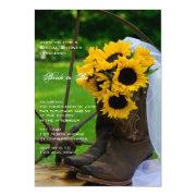 Rustic Sunflowers Country Bridal Shower Invitation
