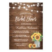 Rustic Sunflowers Mason Jar Lights Bridal Shower Invitations