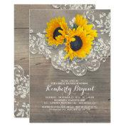 Rustic Sunflowers Wood Lace Bridal Shower