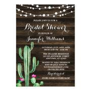 Rustic Watercolor Cactus Barn Wood Bridal Shower
