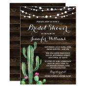 Rustic Watercolor Cactus Barn Wood Bridal Shower Invitations