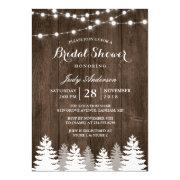 Rustic Winter Bridal Shower String Light Pine Tree