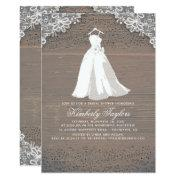 Rustic Wood And Lace | Wedding Gown Bridal Shower Invitation