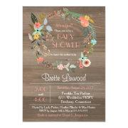Rustic Wood, Floral Wreath Shabby Chic Bridal Shower Invitations