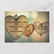 Rustic Wood Hearts - 3x5 Wedding Shower Invite