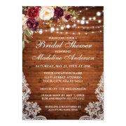 ce037236be9a Rustic Wood Lights Floral Lace Bridal Shower Invitations