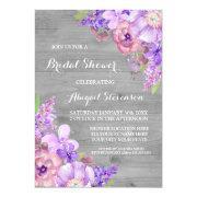 Rustic Wood Purple Flowers Bridal Shower
