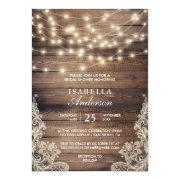 Rustic Wood & String Lights | Lace Bridal Shower Invitation