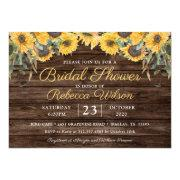 Rustic Wood Sunflower Country Barn Bridal Shower Invitation