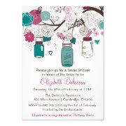 Sangria & Teal Mason Jars Bridal Shower Invitations
