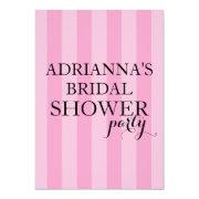 Secret Surprise Bridal Shower Party Pink Stripes Invitations