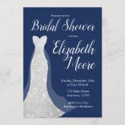 Sequin Wedding Dress Bridal Shower Invitations