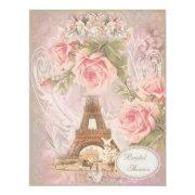 Shabby Chic Eiffel Tower Pink Floral Bridal Shower