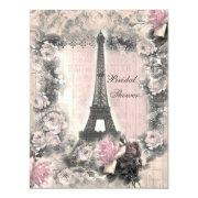Shabby Chic Eiffel Tower & Roses Bridal Shower Invitations