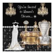 Shabby Chic Vintage Bridal Shower With Bling Invitations