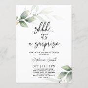 Shhh Surprise Greenery Bridal Shower Invitation