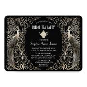 Silver Art Deco Peacocks Bridal Shower Tea Party Invitation