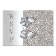 Silver Faux Bow & Diamonds RSVP Announcement