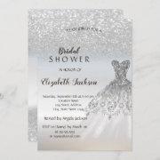 Silver Glitter Bokeh Dress Bridal Shower Invitation