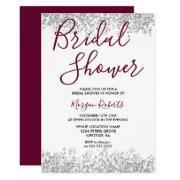 Silver Glitter Burgundy Bridal Shower