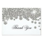 Silver Glitter Jewels Thank You Note Invitation