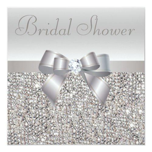 Silver Printed Sequins Bow & Diamond Bridal Shower
