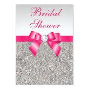 Silver Sequins Hot Pink Bow Bridal Shower Invitation
