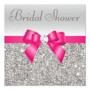Silver Sequins Hot Pink Bow Diamond Bridal Shower