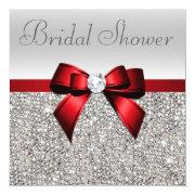 Silver Sequins Red Bow Diamond Bridal Shower