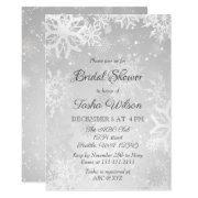 Silver Snowflakes Winter Bridal Shower Invitations