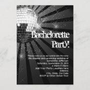Silver Sparkle Disco Ball Bachelorette Party Invitation