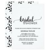 Simple Black & White Calligraphy Bridal Shower