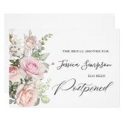 Simple Elegant Bridal Shower Change The Date Invitation