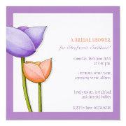Simple Flowers Purple Orange Bridal Shower Square