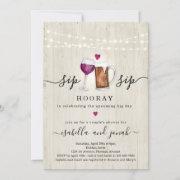 Sip Sip Hooray Couple's Shower Invitation