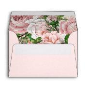 Soft Blush Pink Vintage Floral Wedding 4x6 Envelope