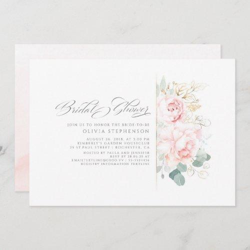 Soft Pink Flowers And Gold Greenery Bridal Shower Invitation