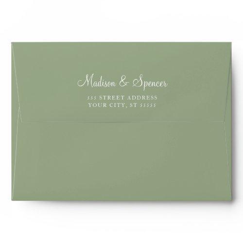Solid Succulent Sage Green Wedding Envelope