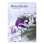 Sparkling Purple Ornaments Bridal Shower Invitation
