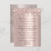 Sparkly Glitter Rose Gold Elegant Bridal Birthday Invitation
