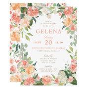 Spring Blush Peach Watercolor Floral Bridal Shower