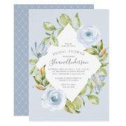 Spring Floral Diamond Dusty Blue Bridal Shower