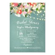 Spring Tulips & Roses | Teal Bridal Shower Invitation