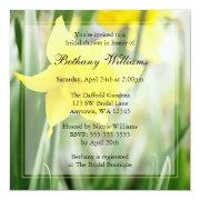 Spring Yellow Daffodil Flowers Bridal Shower Invites