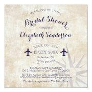 Square Passport Travel Themed Bridal Shower Invite