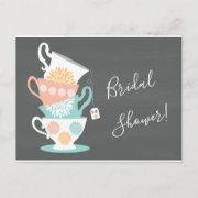 Stacked Tea Cups On A Chalkboard Background Invitation Postinvitations